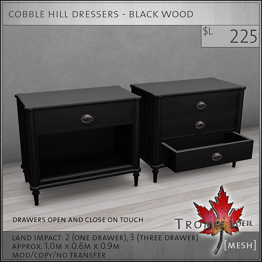 cobble hill dressers black wood L225
