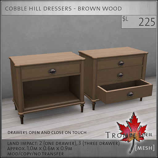cobble hill dressers brown wood L225