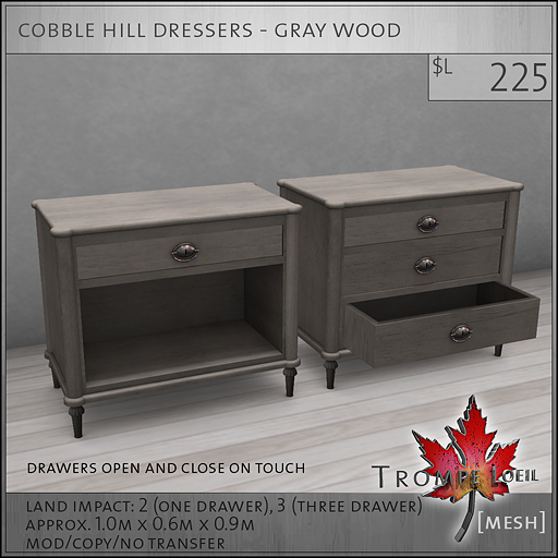 cobble hill dressers gray wood L225