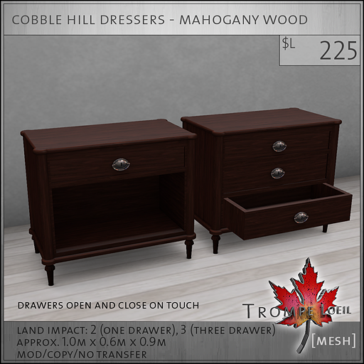 cobble hill dressers mahogany wood L225