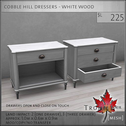 cobble hill dressers white wood L225