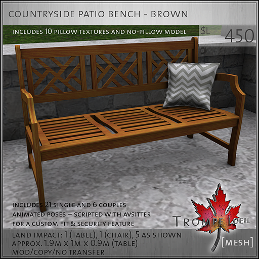 countryside patio bench brown L450