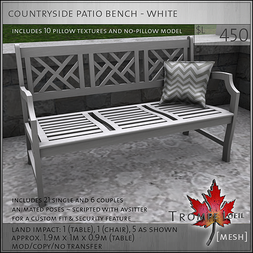 countryside patio bench white L450