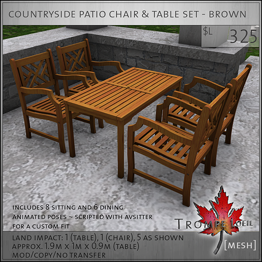 countryside patio chair and table set brown L325