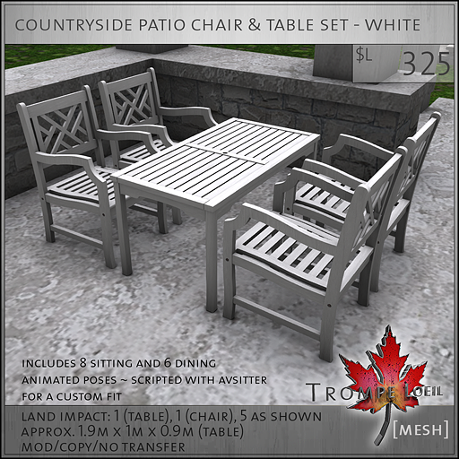 countryside patio chair and table set white L325