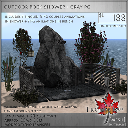 outdoor rock shower gray PG L188