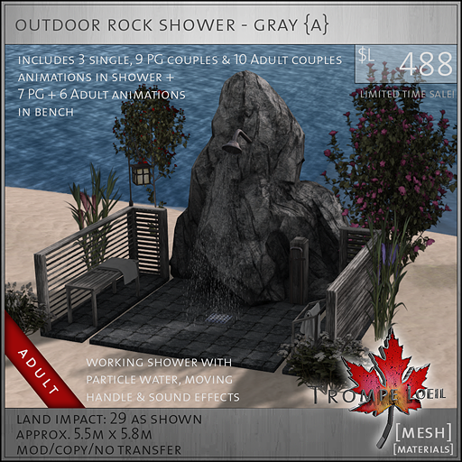 outdoor rock shower gray adult L488