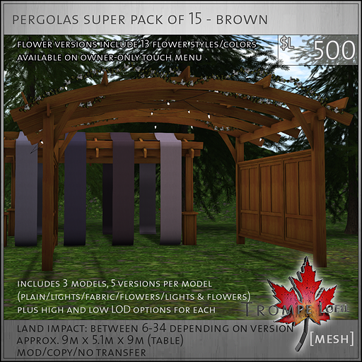 pergolas super pack of 15 brown L500
