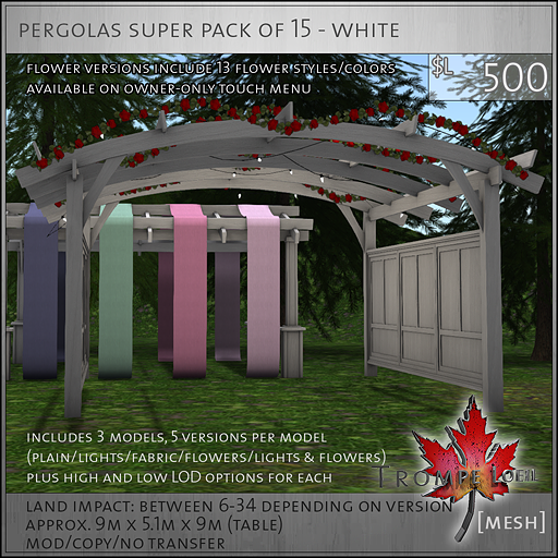 pergolas super pack of 15 white L500