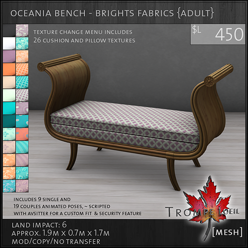 oceania bench brights Adult L450