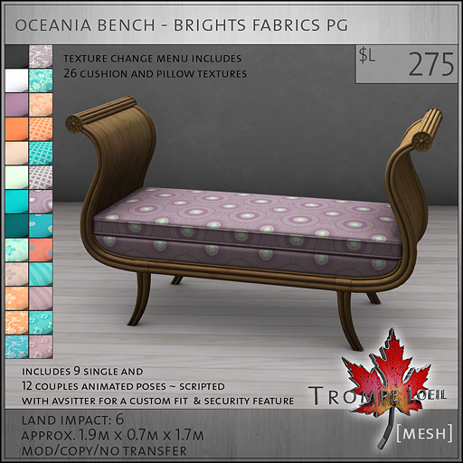 oceania bench brights PG L275