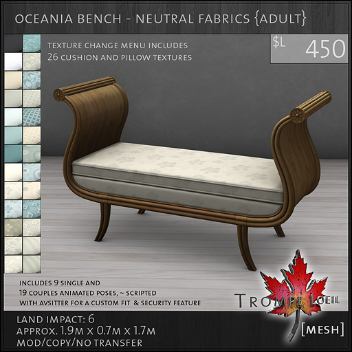 oceania bench neutrals Adult L450