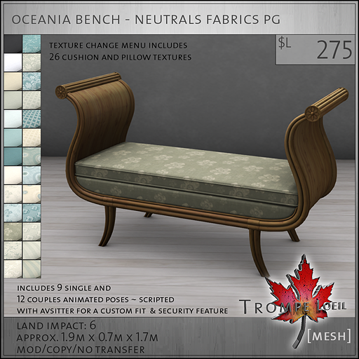 oceania bench neutrals PG L275