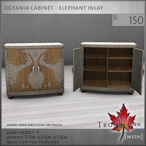 oceania cabinet elephant inlay L150