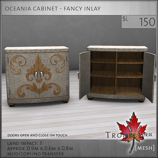 oceania cabinet fancy inlay L150