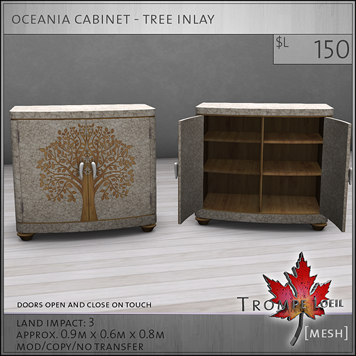 oceania cabinet tree inlay L150