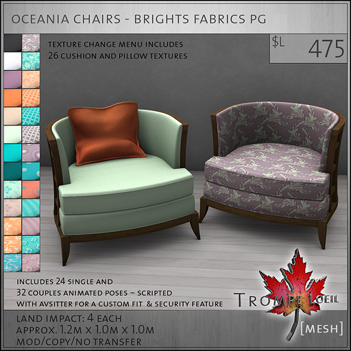 oceania chairs brights PG L475