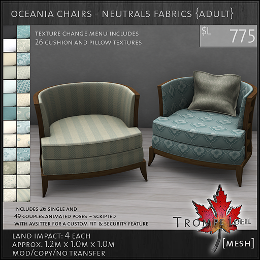oceania chairs neutrals Adult L775