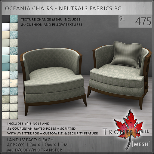 oceania chairs neutrals PG L475