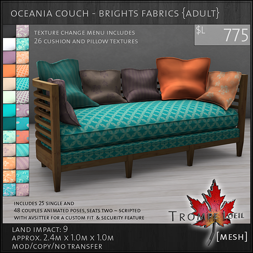 oceania couch brights Adult L775
