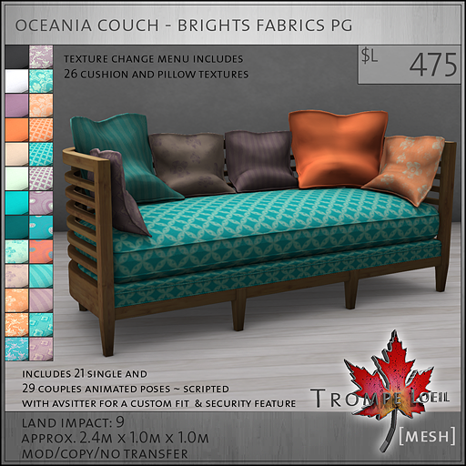 oceania couch brights PG L475