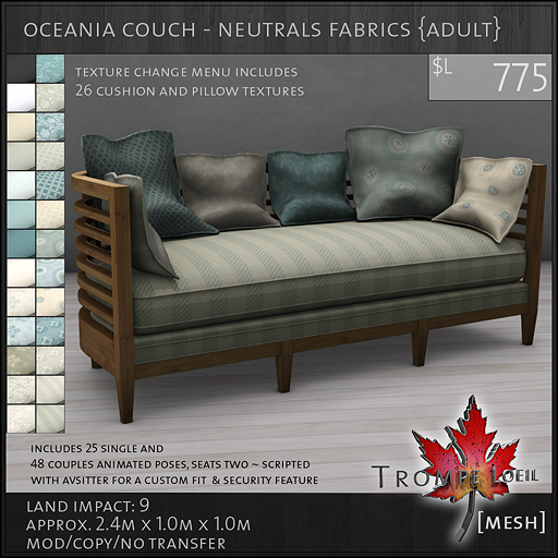 oceania couch neutrals Adult L775