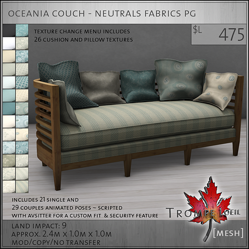 oceania couch neutrals PG L475