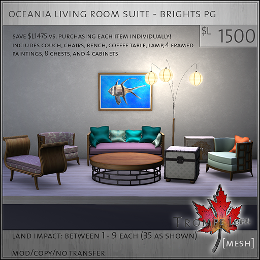 oceania living room suite brights PG L1500