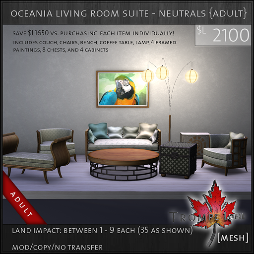 oceania living room suite neutrals Adult L2100