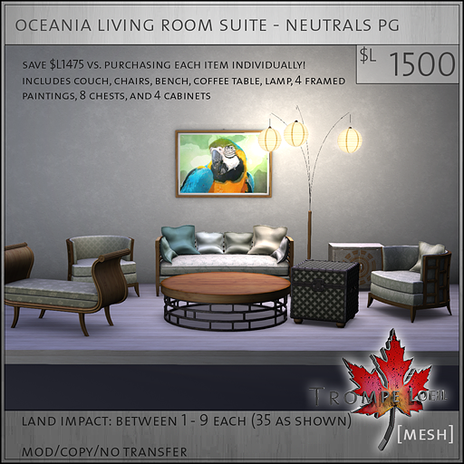 oceania living room suite neutrals PG L1500