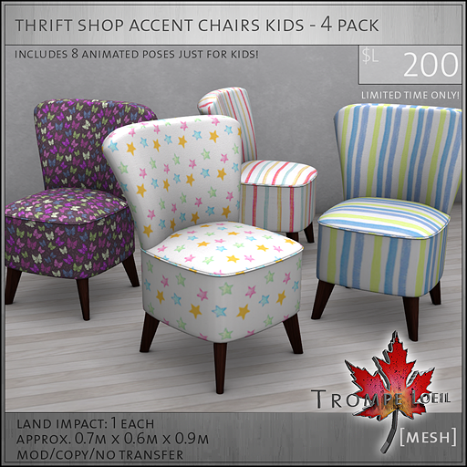 thrift shop accent chairs kids four pack L200