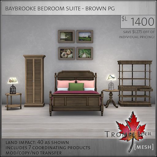 baybrooke bedroom suite brown PG L1400