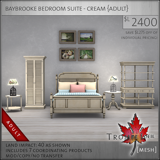 baybrooke bedroom suite cream Adult L2400