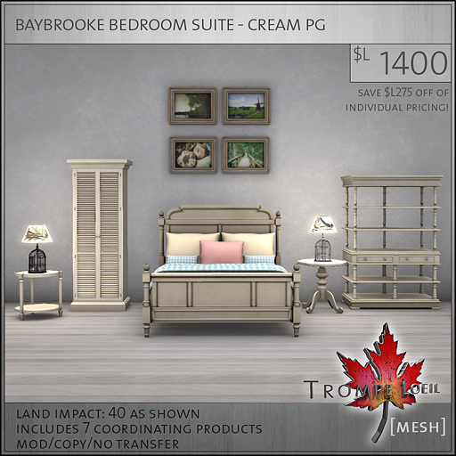 baybrooke bedroom suite cream PG L1400