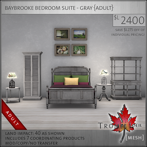 baybrooke bedroom suite gray Adult L2400