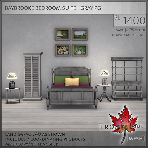 baybrooke bedroom suite gray PG L1400