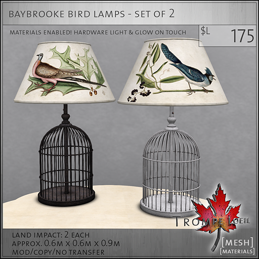 baybrooke bird lamps L175