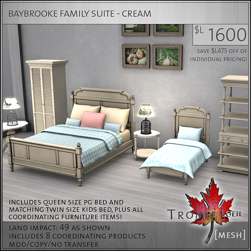 baybrooke family suite cream L1600