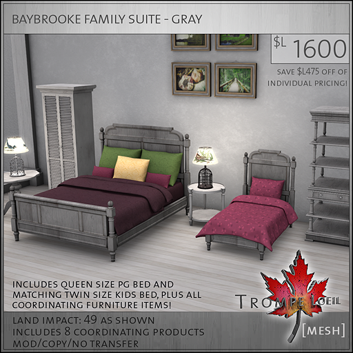 baybrooke family suite gray L1600