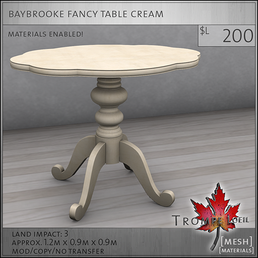 baybrooke fancy table cream L200