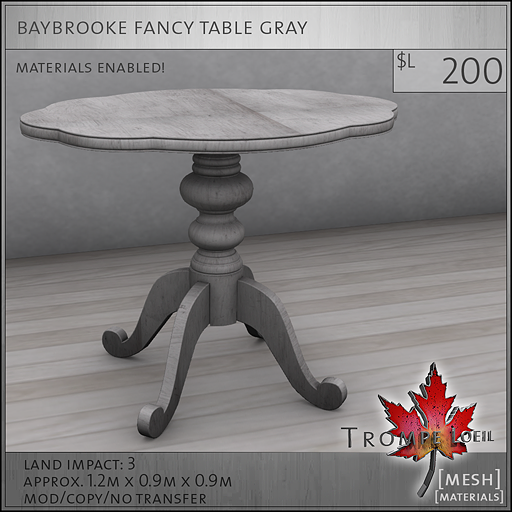 baybrooke fancy table gray L200