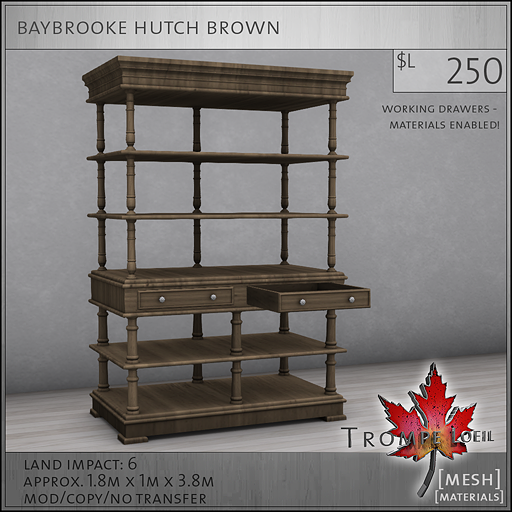 baybrooke hutch brown L250