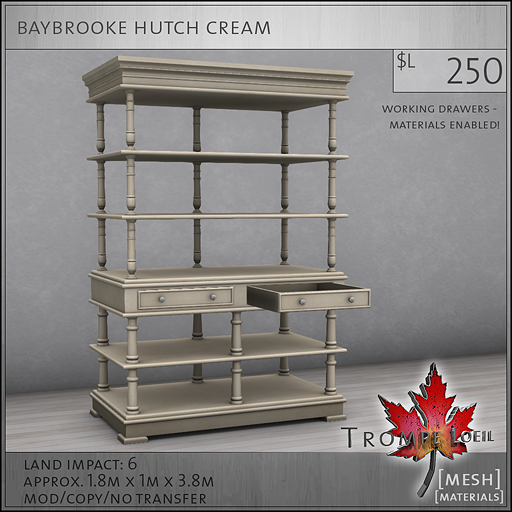 baybrooke hutch cream L250