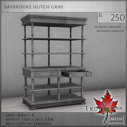 baybrooke hutch gray L250