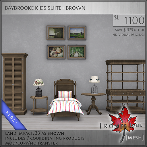 baybrooke kids suite brown L1100