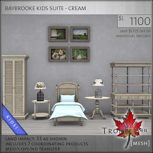 baybrooke kids suite cream L1100