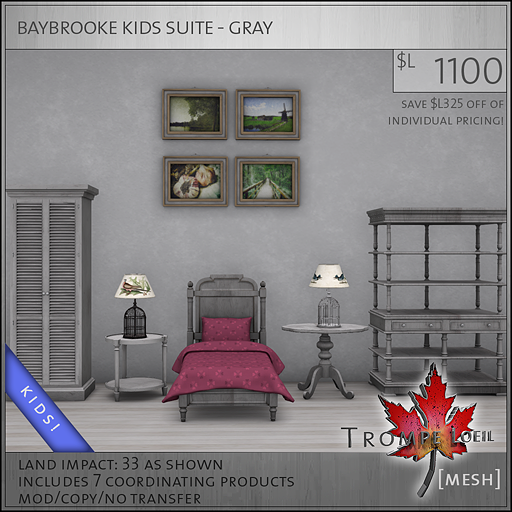 baybrooke kids suite gray L1100