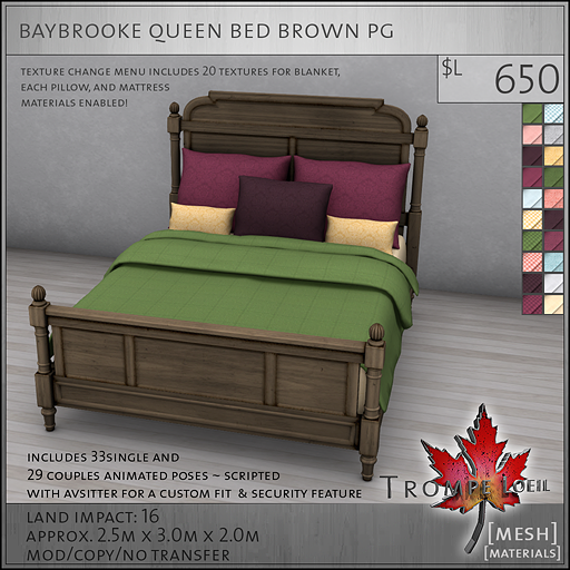 baybrooke queen bed brown PG L650