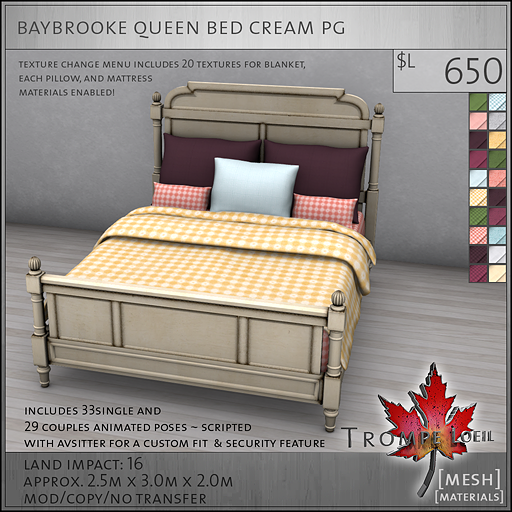 baybrooke queen bed cream PG L650