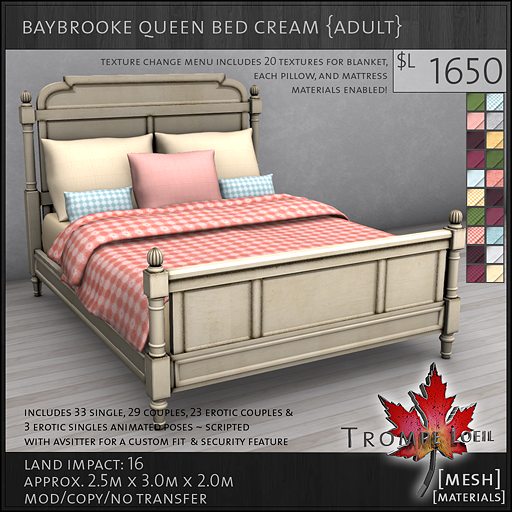 baybrooke queen bed cream adult L1650